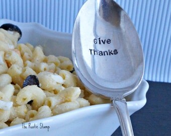 Give Thanks, Stamped Serving Spoon, Hand Stamped, Hostess Gift, Perfect for Thanksgiving, Thanksgiving Decor, Custom Serving Spoon