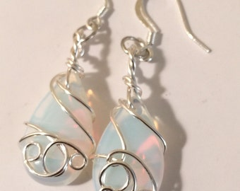 Natural Opal Wire Wrapped Earrings