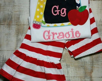 Back to School Chalkboard Alphabet Shirt and Ruffle Pants Outfit Set