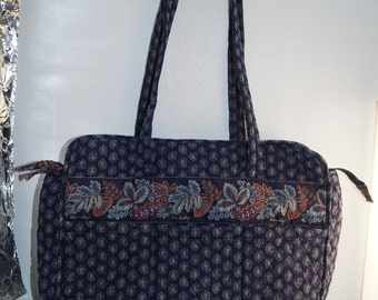 Vera Bradley Navy Blue Paisley Extra Large Shopper Tote Overnight Bag Purse