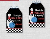 Boy Bowling Birthday Favor Thank You Tags - Boy Bowling Theme Birthday Party - Digital Design or Handcrafted Tags - FREE SHIPPING