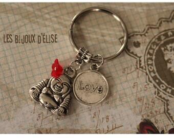 Sale - Buddha and Love Keychain Yoga Keychain