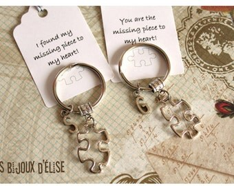 Set of 2 Personalized Puzzle Keychains Couple Keychains Bridesmaid Keychains Teamwork Best Friends His and Hers Valentine Keychains
