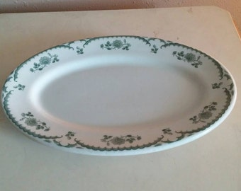 On Sale Vintage China Shenango China Rim Rol 12.5 inch Oval Serving Plate with Dark Green Flowers Replacement Dish