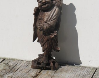 Old Carved Wooden Budha Great Garden Decor