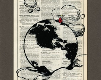 On Top of the World, Earth, Dictionary Art Print, Upcycled Dictionary Page, Old Book Art, Decorative Wall Art, 057