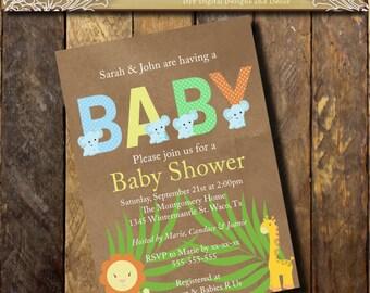 Baby Shower invitation Printable Safarie Invitations,Gender Neutral, Couples Shower, Gender Reveal Diaper, Shower Invitation