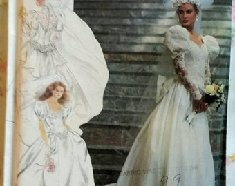1991 Wedding Bridal Dress Gown Costume Simplicity Pattern 7429 UNCUT