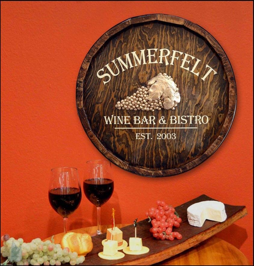Custom wine bar bistro quarter barrel wood bar sign for Custom wine bar
