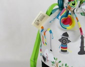 Yarn Bomb - drawstring knitting project bag | custom-printed cotton-linen fabric | Little Skein in the Big Wool