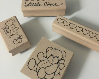 4 Rubber stamps, welcome little one rubber stamp baby's rubber stamp, bear rubber stamp