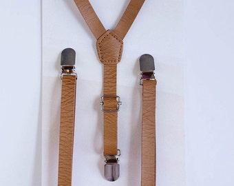 Boys Suspenders, Brown Leather Suspenders, Baby Boy Suspenders, Ring Bearer Outfit, Boys Suites, 1st Birthday Boy, Kids Suspenders, Gift