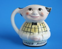Vintage Toby Jug Character Pitcher, Likker Pikker Bartender Pitcher, Vintage Barware, International Trading Co Philadelphia, Made in Japan