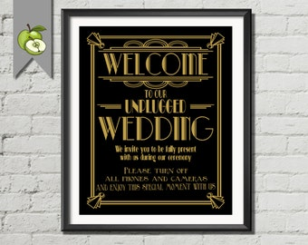 Welcome to our unplugged Wedding Sign, black and gold, art deco 3 sizes, instant download, DIY printable, no cameras, cell phones, AD2