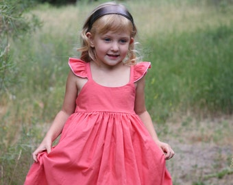Boutique Coral dress -Girls Dress- Flutter sleeves - Country dress- humming bird dress - Birthday - Special Occasion - Holiday Wear