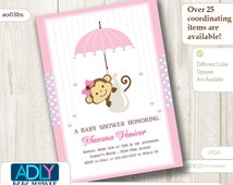Personalized Soft Pink Girl Monkey Baby Shower Printable DIY party invitation - ONLY digital file - you print