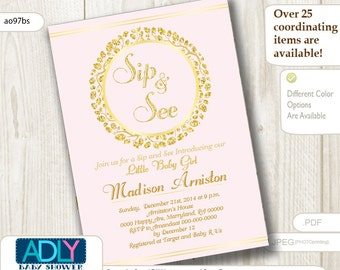 Sip and See party invitation for a Girl in powder pink and glitter gold,wreath blush pink, sip n see invitation,it's a girl - ao97bs