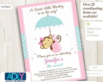Aqua Pink Monkey Baby Shower Invitation, A Little Monkey is on her way, mint pink polka dots, monkey with umbrella,digital invitation-ao9bpa
