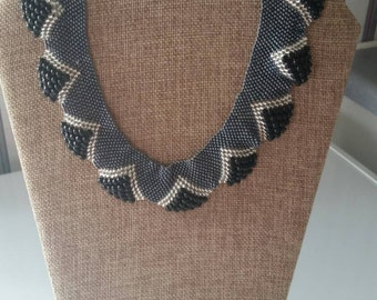 Beaded glass necklace  gunmetal black and crystal