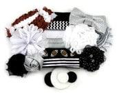 Oakland Raiders Inspired - DIY Mini Headband Kit - 6 DIY Headbands - Baby Shower Station - Headband Bar - Craft Show - MHK-096