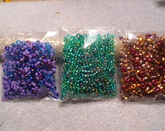 3 Packs Assorted Seed Beads Bead Soup LOT #3 Color Coordinated Purple/Aqua Green/Maroon/Dark Gold Bead Embroidery