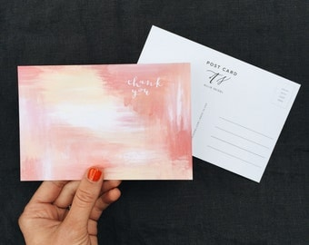 Calligraphy Post Card | Pink Abstract Thank You | Matte | 100% Recycled
