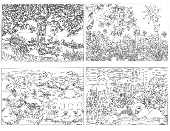 items similar to printable set of 4 assorted nature scenes coloring pages coloring for adults on etsy - Nature Coloring Pages For Adults