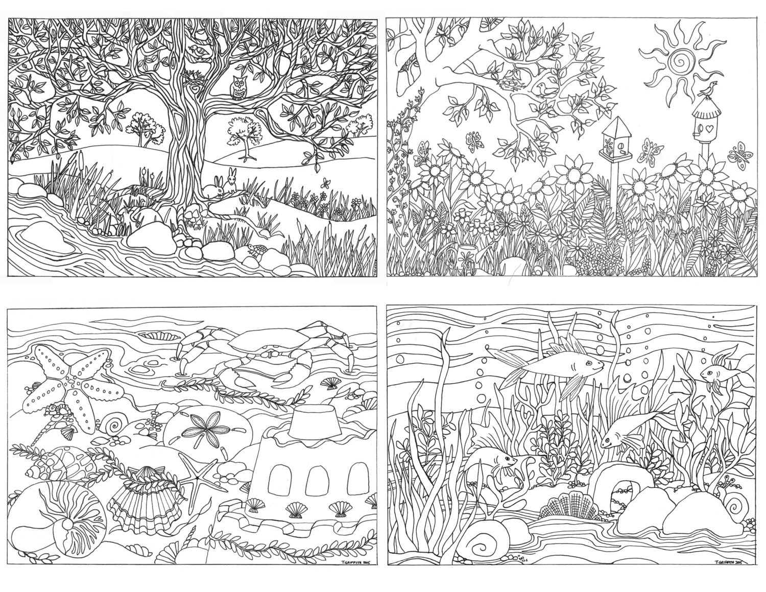 Coloring Page for Grown Ups: Garden Scene —Yet Another Mom ...