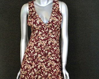 Vintage 90s Floral Grunge Dress - Sleeveless Maroon Small White Flowers - Jumper Size 6
