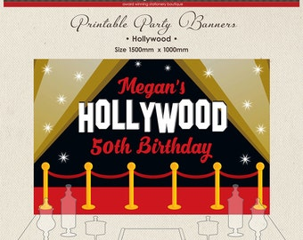 Printable Party Banner Buffet Candy Dessert Table Hollywood USA Glamour Acting Red Carpet