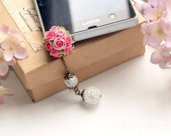 rose charm dustplug, pink rose dustplug, flower charm dustglug, floral dustplug