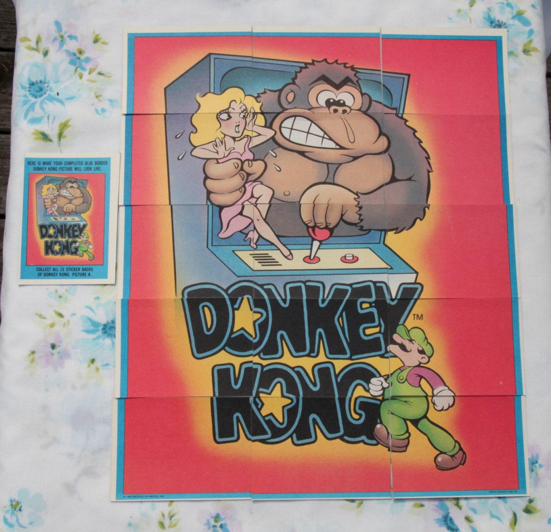 Vintage Nintendo Donkey Kong Sticker Cards Blue Border