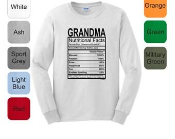 Nutritional Facts Grandma Funny Gift Long Sleeve T-Shirt 2400 - FB-339
