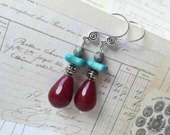 Tribal Boho Ruby Jade & Turquoise Howlite earrings bohemian gypsy Southwestern funky rustic chic one of a kind gemstone earrings Czech glass
