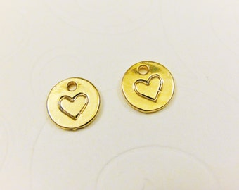 2 PC. Vermeil, 18k gold over 925 sterling silver heart charm, vermeil heart charm,gold heart,heart.