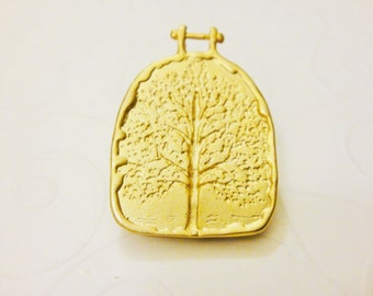 Vermeil, 18k gold plated over 925 sterling silver tree of life, tree of life, matte vermeil tree, tree, pendant with tree