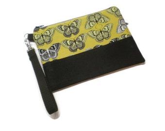 iPhone wristlet wallet, cell phone wristlet, iphone purse. Mustard butterfly fabric wristlet. Monogrammed wristlet. Zippered wristlet.