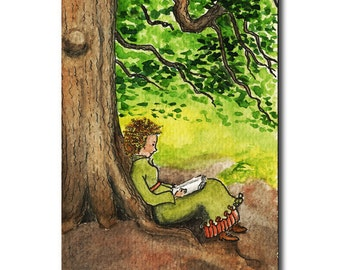 ACEO original ink and watercolour illustration - reading