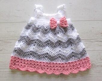 Baby Girl Crochet Dress, Baby Shower Gift Little Girl Dress, Chevron Dress ,Baby Crochet Dress, Grey Pink Baby Dress