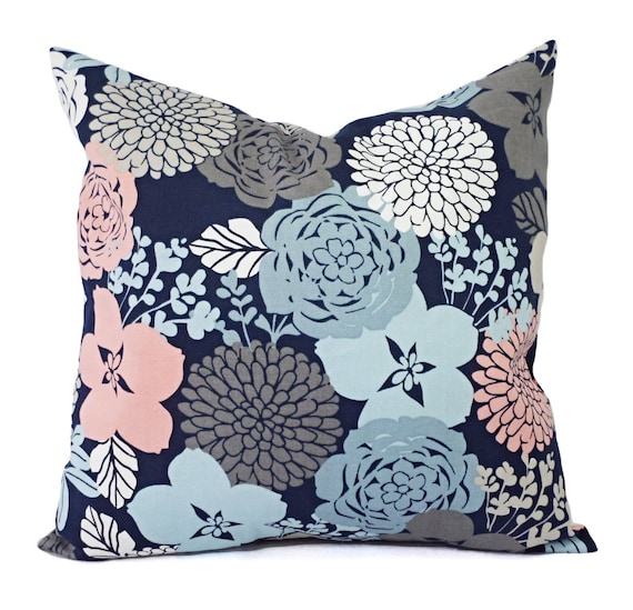 Blue And Pink Decorative Pillows : Two Blue and Pink Pillows Two Decorative Pillow Covers