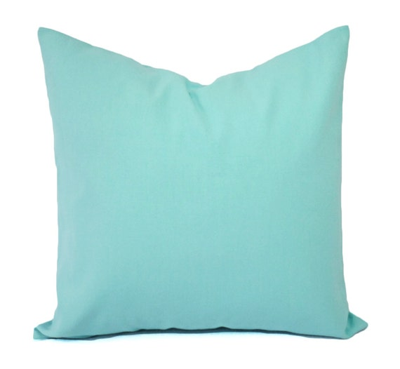 Throw Pillow Covers Teal : Two Aqua Pillow Covers Solid Teal Throw Pillows Aqua Couch
