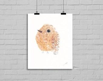 Soft Brown Bird Illustration Watercolor Painting Print