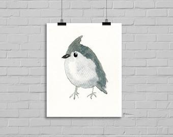 Titmouse Bird Print Watercolor Painting Print
