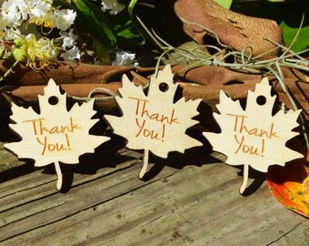 Wooden Leaf Favor Gift Tags, Thank You Tags, Laser Cut Favors