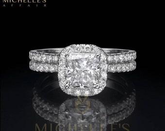 Cushion Cut Diamond Engagement Ring Half Eternity Wedding Band 1.90 Carat H VVS1 Women Marriage Rings In White Gold