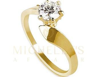 Engagement Ring 0.45 Carat F VS1 Round Cut Women Solitaire Diamond Ring 14 Karat Yellow Gold Size 4 5 6 7 8