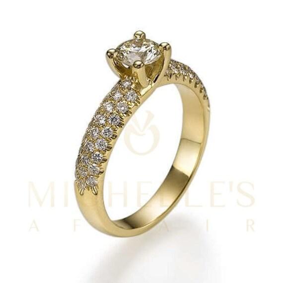 Women Diamond Ring 1 40 Carat Round Cut 14 Karat Yellow Gold