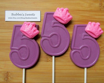 """Number FIVE """"PRINCESS CROWN"""" Chocolate Pops (12) - (1-9 Available!) Princess Birthday/Princess Favors"""