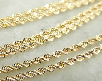 Simple and Lovely Rope Chain in Yellow Gold 2V5K5T-P