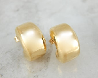 Small Puffy Hoop Stud Earrings in Yellow Gold XP26LX-P